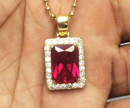 Mens Mini Square Ruby Red Pendant Piece And Chain Necklace - £18.24 GBP