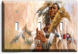 Native American Indian Chief Triple Light Switch Wall Plate Cover Room Art Decor - $16.19
