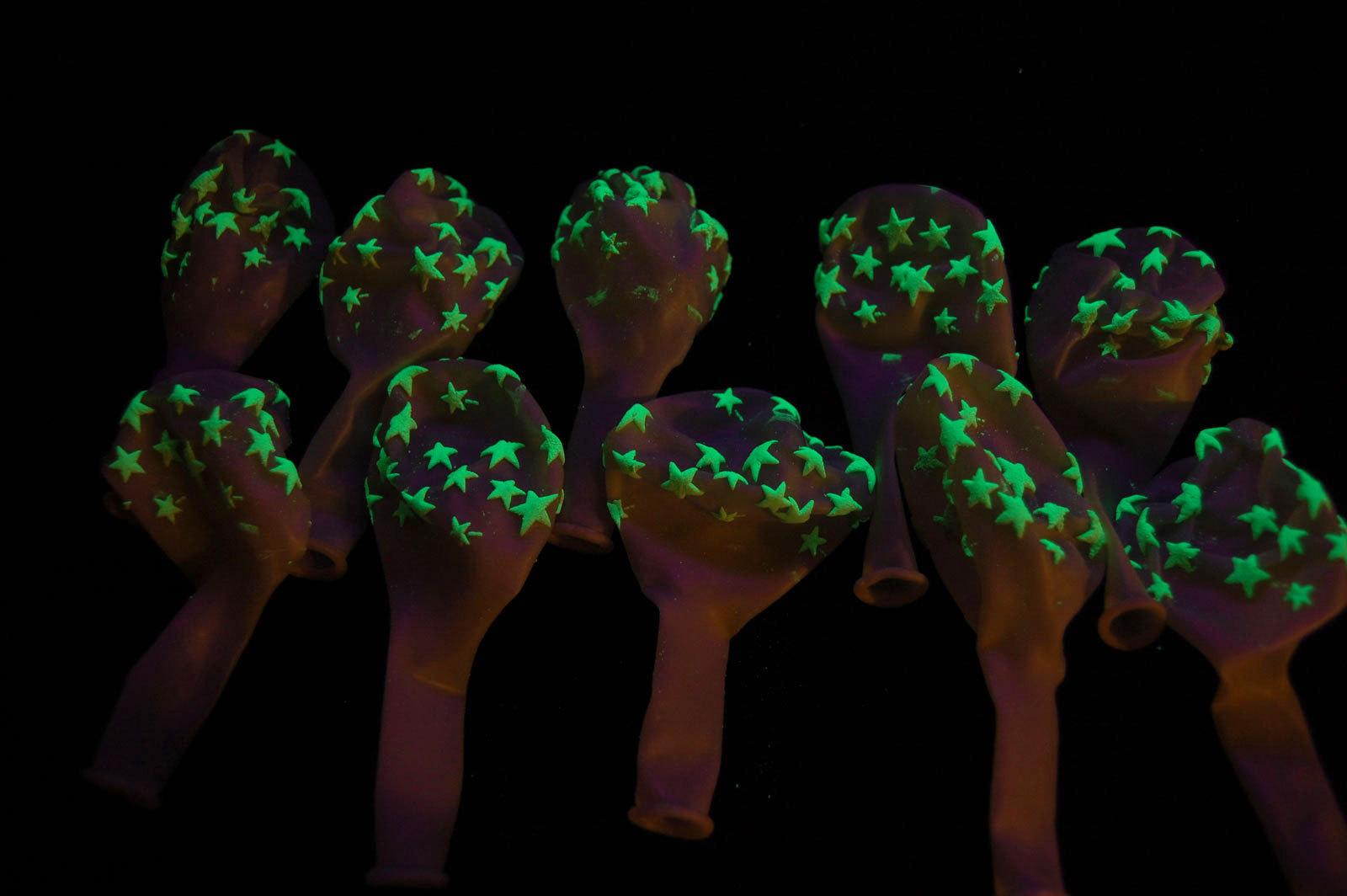 11 inch Glow in the Dark Stars Latex Balloons-  25 pack