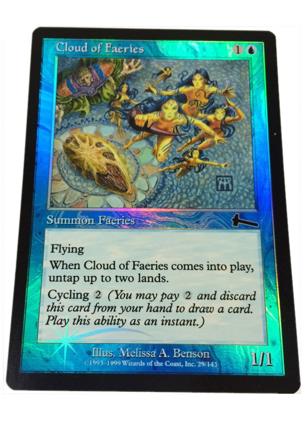 "Magic the Gathering MTG ""Cloud of Faeries"" Foil Card x1 * NM [CB]"