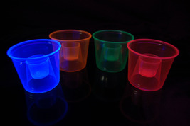 4oz 20ct Assorted Blacklight Reactive Soft Plastic Bomber Shot Glasses - $8.50