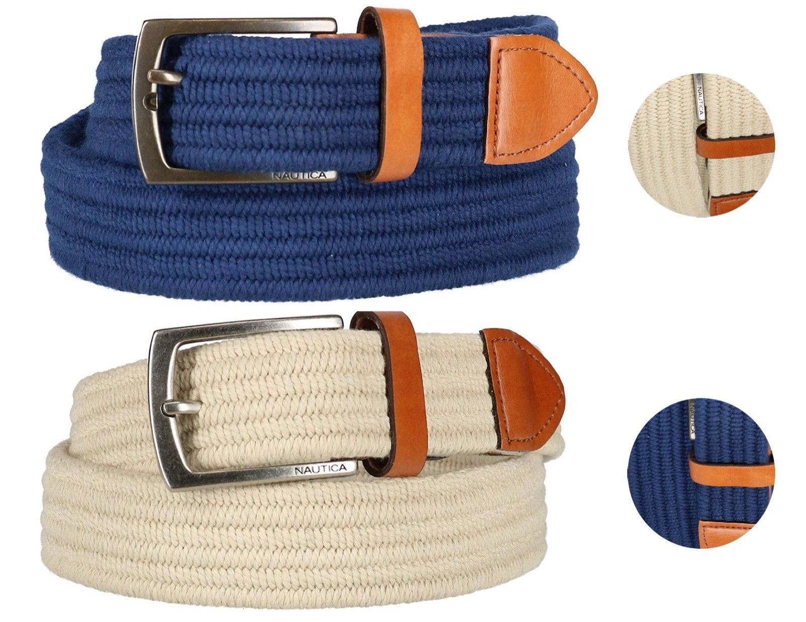 Nautica Men's Stretch Braided Leather 35MM Jabi Fabric Belt 11NU03X026