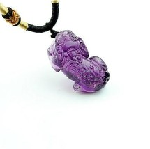 Amethyst stone Hand carved Amethyst pi yao charm pendant - $10.88