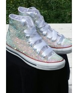 bride converse high top wedding rhinestone converse glitter girls prom shoes - $175.00