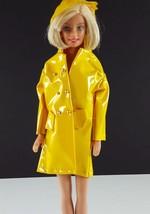 Barbie Clone Glossy Yellow Double Breasted Raincoat w/ Rainhat 1960s Clo... - $9.89