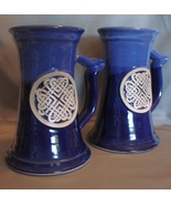 Black Dog Pottery ( Minnesota ) Celtic Knot Motif  Blue Ceramic Tankards  - $39.99