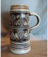 Gerz W. Germany Stein Medieval Motif Brown Ceramic  - $14.99
