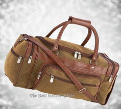 """Brown 23"""" Faux Leather Lined Tote Duffle Bag Luggage Gym Travel Overnigh... - $39.98"""