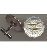 "Bahamas 10 cent ""2 Bonefish""  Silver & gold, coin cufflinks - $90.00"