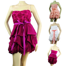 Special Lace CHIFFON BUBBLE Cute TUBE DRESS Pad Bra,Tie Stretch Back JUN... - $649,99 MXN