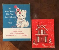 VTG NOS MCM The Norcross Blue Book Calendar 1957 & X-mas Card  paper goods - $14.85