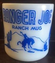 Ranger Joe Ranch Mug Blue Hazel Atlas Milk Glass Americana Cowboy 1950s ... - $9.99