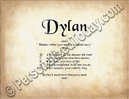 Dylan Hidden Within Your Name Is A Special Story Letter Poem 8.5 x 11 Print - $8.95