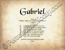 Gabriel Hidden Within Your Name Is A Special Story Letter Poem 8.5 x 11 ... - $8.95
