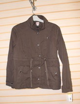NEW WOMENS SIZE LARGE L DARK COCONUT FUNNEL NECK CARGO ARMY ESQUE JACKET - $18.37
