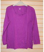 NEW WOMENS LANDS END 14W OX COTTON MODAL WOVEN TRIM SCOOPNECK TUNIC SHIR... - $10.69
