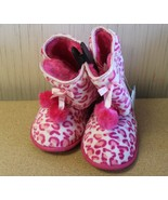 NEW GIRLS YOUTH SIZE 4-5 PINK ANIMAL CHEETAH PRINT HOUSE SLIPPERS W HARD... - $9.74