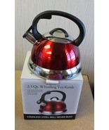 NEW KITCHENWORKS 2.5 QUART WHISTLING TEA KETTLE POT PRETTY RED COLOR W RING - $17.40