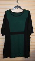 NEW AGB WOMENS PLUS SIZE 3X MODERN GREEN & BLACK COLORBLOCK SWEATER DRESS - $26.11