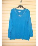 NEW LAURA SCOTT WOMENS PLUS SIZE 3X V NECK W PEARLS TEAL SWEATER SHIRT L... - $13.54