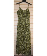 NEW AMANDA LANE MISSY SIZE 16 LONG OLIVE & LIME GREEN GEOMETRIC MAXI SUN... - $22.24