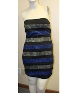 NEW WOMENS JUNIORS LARGE 11-13 BLUE STUDDED TUBE DRESS SEXY PARTY CLUB D... - $4.99