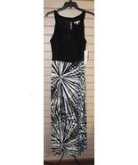 NEW STUDIO ONE MISSY WOMENS SIZE 16 BLACK & IVORY SUNBURST MAXI DRESS GO... - $17.41