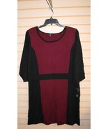 NEW AGB WOMENS PLUS SIZE 3X MODERN BORDEAUX RED & BLACK COLORBLOCK SWEAT... - $26.11