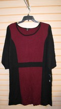 NEW AGB WOMENS PLUS SIZE 2X MODERN BORDEAUX RED & BLACK COLORBLOCK SWEAT... - $26.11
