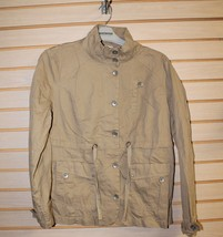 NEW WOMENS SIZE LARGE L KHAKI TAN FUNNEL NECK CARGO ARMY ESQUE JACKET AD... - $18.37