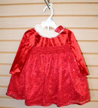 New Infant 18 Months Girls Red Sequin & Lace Santa Claus Holiday Christmas Dress - $15.47