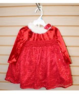 NEW INFANT 18 MONTHS GIRLS RED SEQUIN & LACE SANTA CLAUS HOLIDAY CHRISTM... - $15.47