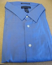 New Lands Ends Mens Size 21 X35 French Blue Button Down Long Sleeve Shirt - $13.54