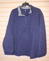 NEW MENS 4X 4XL COMET BLUE BIG LONG SLEEVE FLEECE HALF ZIP MOCK SWEATER ... - $19.35