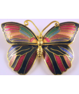 Vintage butterfly pin brooch enameled metal mul... - $15.00
