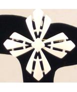 Vintage Crown Trifari white enamel stylized cross brooch pin - $30.00