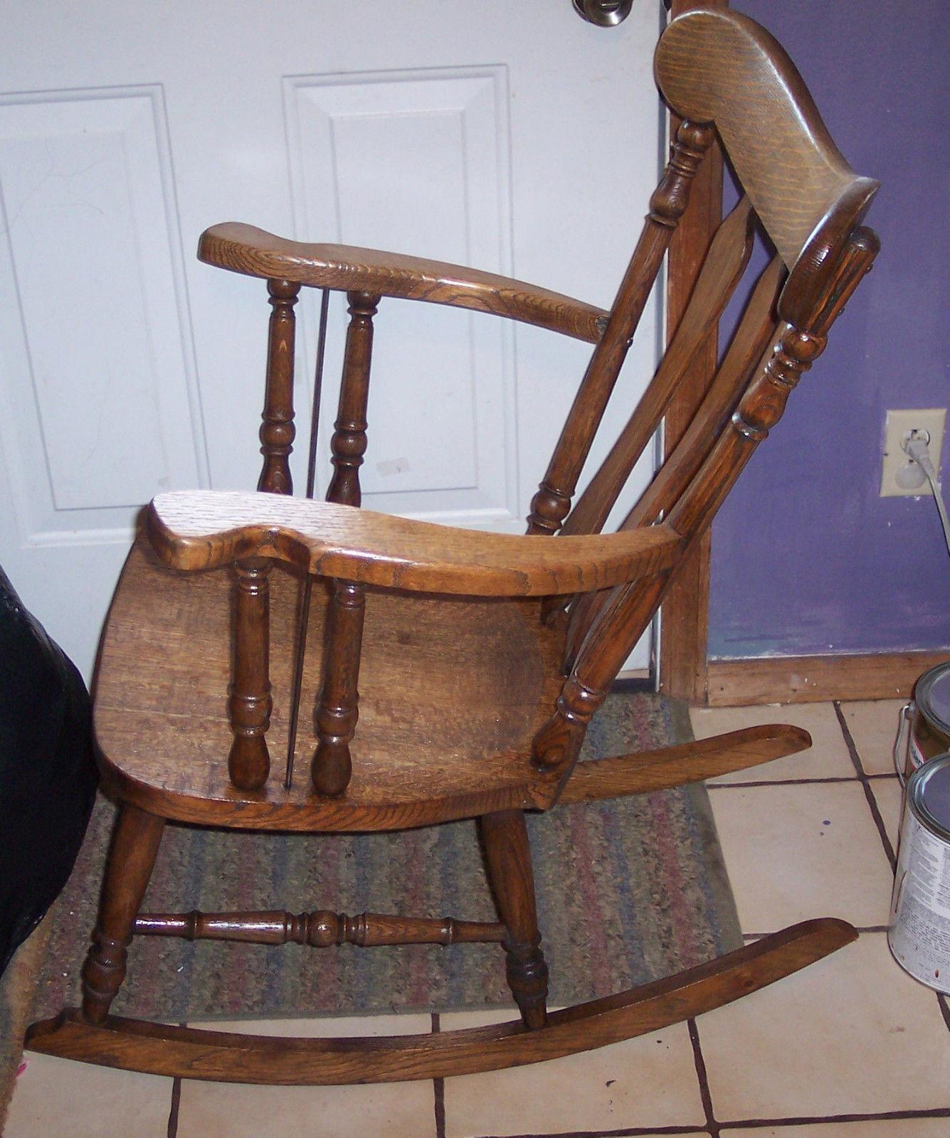 Quartersawn Oak Empire Rocker / Rocking Chair (R69) - Post-1950