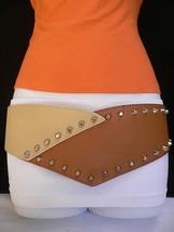 Women Belt Elastic Hip Waist Wide Western Brown Beige Studs Spikes Small... - $15.67