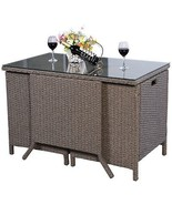 Garden Rattan Set 3pcs Table Chairs Cushioned Outdoor Patio Small Dining... - $303.29