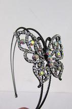 New Women Headband Fashion Big Butterfly Silver Pewter Red Multi Rhinest... - $191,61 MXN