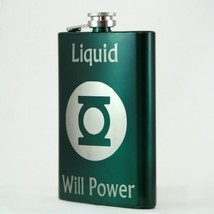 Personalized Top Shelf 8 oz Green Flask - $13.13