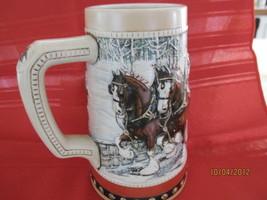 Vintage 2 Budweiser Clydesdales holiday ceramic stein 1988 - $12.16