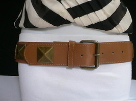 "NEW WOMEN HIP WAIST FAUX LEATHER BROWN FASHION BELT BIG GOLD STUDS 30""-3... - $16.64"