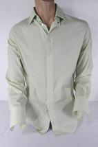 John Varvatos Men White Lime Green Classic Dress Shirt Long Sleeves Large  - $97.99