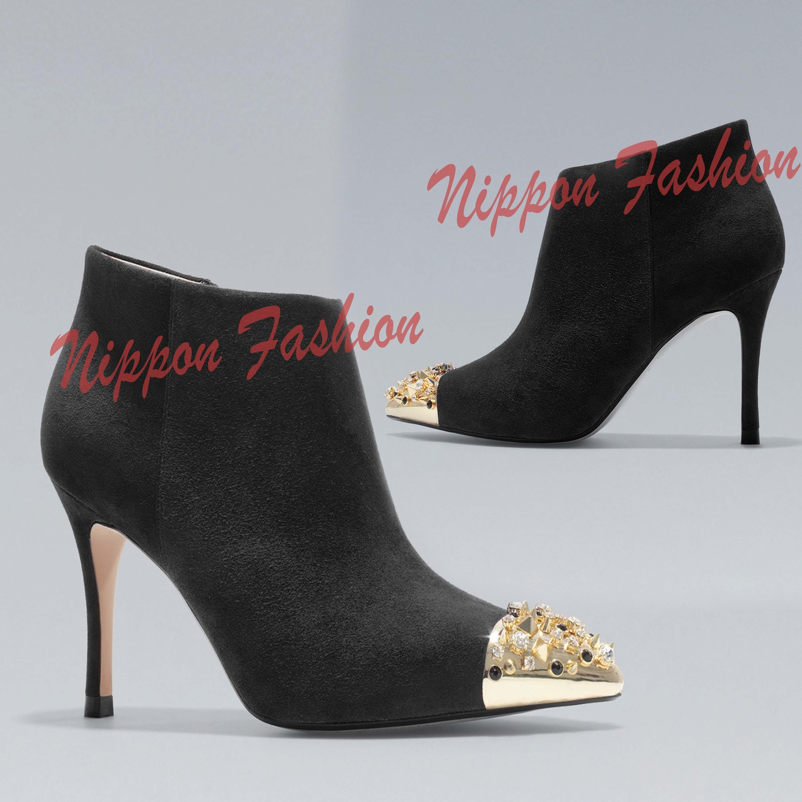 8a3818f4735 1. 1. NEW ZARA Black High Heels Ankle Boots Stud Spikes Gold Cap Toe Suede  Metal Shoes · NEW ZARA Black ...