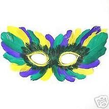 (7) Purple Green Gold Mardi Gras MASQUERADE PARTY FEATHER Eye Mask costume - €29,00 EUR
