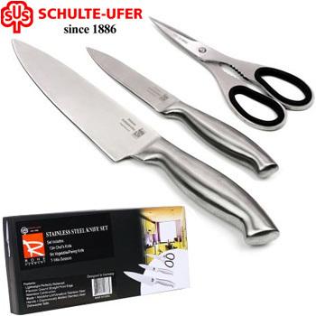 Schulte-Ufer 3-Pc Steak Knife Set Stainless Steel Blade Home Kitchen