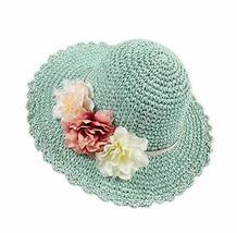 PANDA SUPERSTORE Creative Summer Straw Beach Flowers Blue Girl Hat