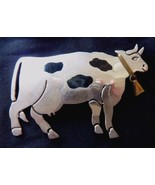 Sterling Silver Cow Pin Brooch Mexico 18 grams with brass bell Black spo... - $58.75