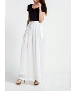 White Chiffon pants women trousers long pants wide leg pants Palazzo Pan... - $89.99